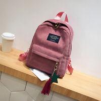 Women's Mini Backpack School Shoulder Bags Rucksack Corduroy Travel Satchel Hobo