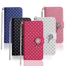 Fashion Diamond Bling Leather Case Flip Cover Kickstand Card Pocket + Hand Strap