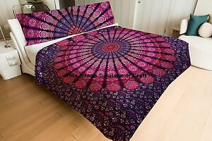 Queen Size 100%Cotton Quilted Mandala Comforter Coverlet Hippie Bohemian Bedding
