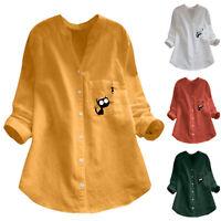 Women Vintage Cat Print Button V-Neck Long Sleeve Plus Size Shirt Top Blouse Tee