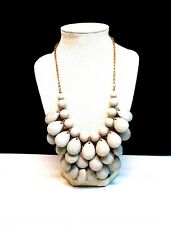 Gold Toned & Grey Plastic Faceted Bib Statement Necklace