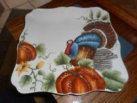 "New Mint MAXCERA Thanksgiving Turkey Pumpkin 11"" Plate or Serving Tray"
