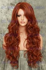 Dark Auburn/Red Mix Long Loose Curly Heat Safe Synthetic Wig Boston in T33/130