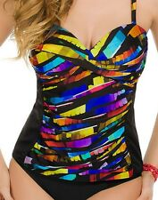 Miraclesuit Black & Yellow Hourglass Tankini Top, size 14