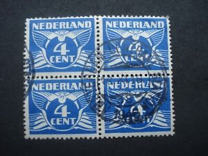 Block of 4 Used Stamps Netherlands 4 cent blue SG 427a