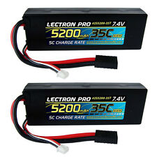 Lectron Pro 7.4V 2S 5200mAh 35C Lipo Battery Traxxas Stampede Rustler 2 Pack