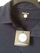 Boohoo MAN New Men's Large Shirt Cotton Pique Navy Blue Button Front
