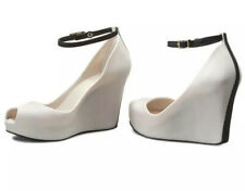Melissa Women's Size 6 Cream Black Patchouli peep toe platform wedges Rockabilly