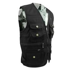 Men's Multi Pocket Travel Fishing Photography Director Outdoor Vest Black XL