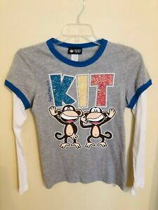 BOBBY JACK Girls Plus XL (18.5) Long Sleeve Keep in Touch BFF Gray T-Shirt NWT