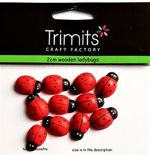 TRIMITS CRAFT FACTORY PACK OF 10 LARGE WOODEN LADYBIRDS LADYBUGS 2 CMS