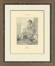 "Rare, Original 1898 ""October by Alphonse Mucha for Cocorico, Custom Framing"
