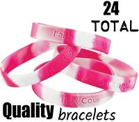 (24) Camo Pink Breast Cancer Awareness Saying Bracelets Camouflage (2 dozen)