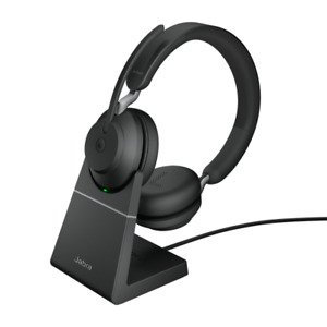 Jabra Evolve2 65 UC USB-A Stereo Bluetooth Headset w Stand - Black 26599-989-999