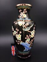 "beautiful large antique Chinese cloisonne vase on stand no damages 10 1/8"" prune"