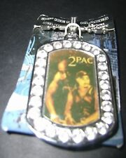 "2Pac Tupac Shakur Rhinestone border heavyweight pendant 36"" Chain Necklace lot"