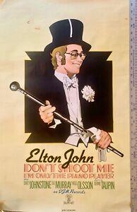 ELTON JOHN : ORIGINAL DJM 1972 ADVERTISING POSTER 'DON'T SHOOT ME' 30'' x 20''