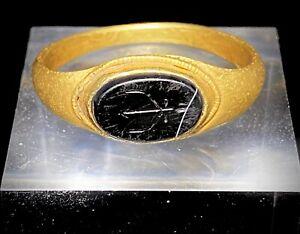 Roman Gold Ring With Zeus Thunderbolt Lightning