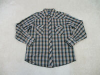 Wrangler Shirt Adult Large Black Brown Pearl Snap Western Rodeo Cowboy Mens