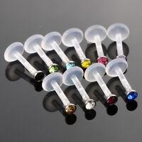 10pcs Bioflex Labret Lip Rings Ear Studs Crystal 10 colors Gem 16G 8MM
