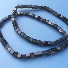 Kilkenny marble 4mm black limestone cube beads. Irish loose strung gemstone.