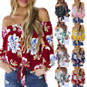 Women Cold Shoulder Blouse Floral Knot Tie Front Chiffon Shirt Flare Sleeve Tops