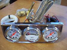 Chrome Triple Gauge Kit-Oil Pressure,meter,Water Temp