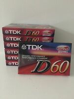 TDK D60 Blank Recording Cassette Tape - Factory Sealed New!!! 7 Tapes