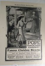 Antique Vintage POPE chainless Bicycle Catalog Advertising The Review of Reviews