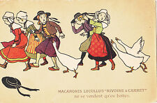 CK40. Vintage Advertising Postcard. Rivoire & Carret Pasta. Geese chasing girls.