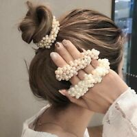 Women Elastic Rope Hair Ties Ponytail Holder Rhinestone Pearl HairRope Accessory