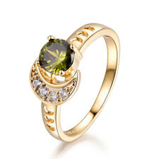 Sun & Moon Peridot Green Sapphire Gold Filled Lady Wedding Finger Rings Jewelry