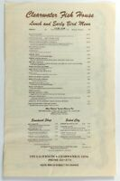 1970's Vintage Menu CLEARWATER FISH HOUSE Restaurant Clearwater Florida