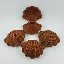 Vintage Wicker Clam Shell Basket Hinged Nautical Beach Decor Lot of 4