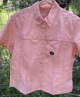 LL Bean Women's Size M Pet Vented Cap Sleeves Tropical Peach Color Shirt