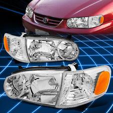 Chrome Clear Headlight+Amber Corner Signal Light for 2001-2002 Toyota Corolla