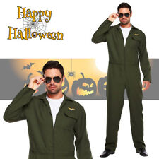 Adult Top Aviator Fighter Pilot Suit Fancy Dress Halloween Costume Stag Do Party