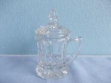 Vintage nice cut glass mustard jar with lid