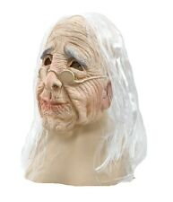 #OLD WOMEN OVERHEAD RUBBER MASK WITH WHITE HAIR OLD PEOPLE FANCY DRESS ADULT
