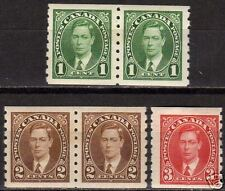Canada 1937 SG 368-369 in pairs+370 coil stamps  MLH