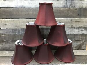 """Set of 6 Clip on 5"""" Small Candelabra Shades for Chandelier  Burgundy"""