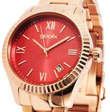 Damen Armbanduhr Rot/Rosegold Edelstahlarmband Datum DUA05876 von gooix 149€ UVP