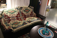 geometric sofa throw blanket cotton woven versatile tribal reversible rug ethnic