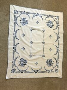 Antique European Tablecloth Red and White Square Embroidered Tablecloth RBT1893 Vintage Cross and Stem Stitch Embroidered Linen Tablecloth