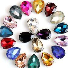 10 Large Crystal Glass Teardrop Rhinestones Rose Montees Beads 20X30mm Colour