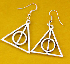 Hot new Fashion Harry Potter silver The Deathly Hallows Charm earrings 1 pair