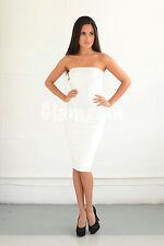 Womens Ladies Strapless Boobtube Midi Club Wear Bodycon Party Stretch Dress M White