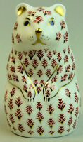 ROYAL CROWN DERBY IMARI PORCELAIN BEAR PAPERWEIGHT GOLD STOPPER