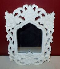 Heavy White Ornate Floral Resin Framed Wall Mirror Accent Decor ^
