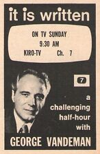 1974 KIRO TV AD~GEORGE VANDEMAN~TV EVANGELIST~SEVENTH DAY ADVENTIST~RELIGON